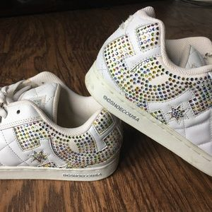 Rainbow Rhinestone DC Skate Shoes